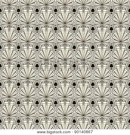 Seamless Retro Art Deco Pattern Ornament. Geometric Stylish Background
