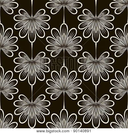 Seamless Pattern Graphic Ornament. Floral Stylish Background. Repeating Texture With Stylized Leaves