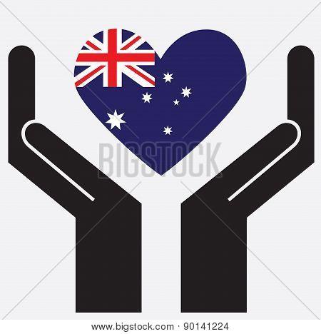 Hand showing Australia flag in a heart shape.