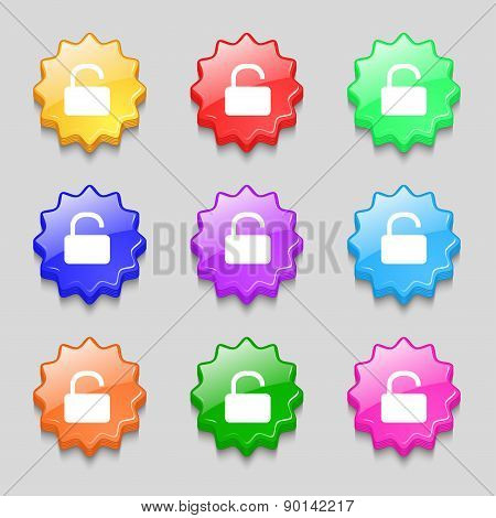 Open Padlock Icon Sign. Symbol On Nine Wavy Colourful Buttons. Vector