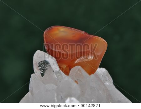 Carnelian On Rock Crystal