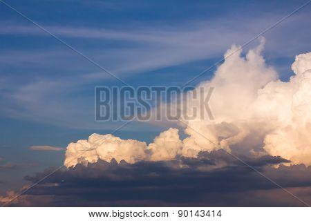 White Clouds Close Up In Blue Sky