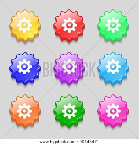Cog Settings, Cogwheel Gear Mechanism Icon Sign. Symbol On Nine Wavy Colourful Buttons. Vector