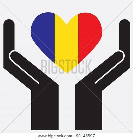 Hand showing Chad flag in a heart shape. Vector illustration.