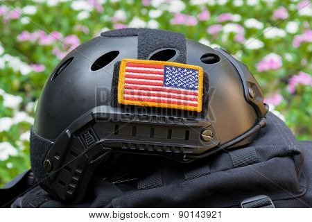 Rounded American flag patch stick on Special force Modern combat helmet