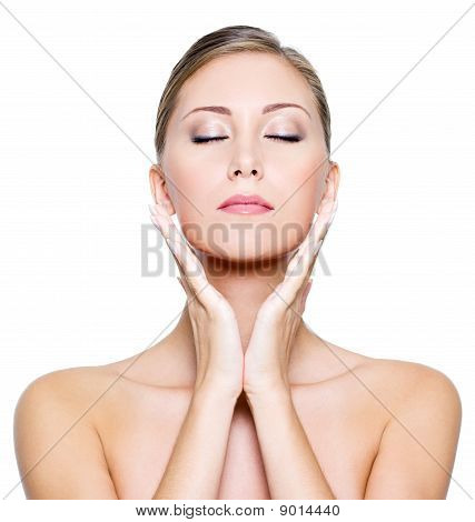 Face With Closed Eyes Of A Beautiful Woman
