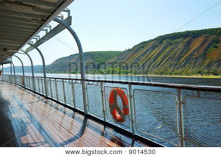 Fence Of A Deck On River Cruise Boat