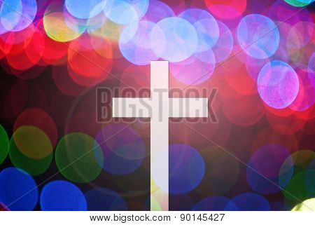 christ cross on abstract motion blur background with lighting lens flare and rainbow for web-design,