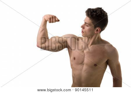 Handsome bodybuilder doing bicep pose, isolated