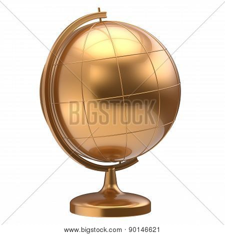 Golden Globe Blank Planet Earth Global Geography Symbol