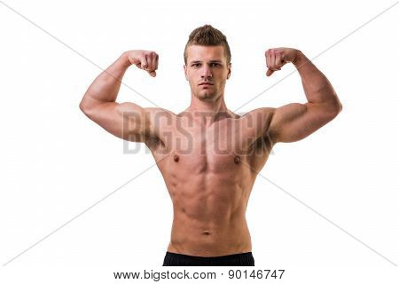 Handsome bodybuilder doing classic biceps pose