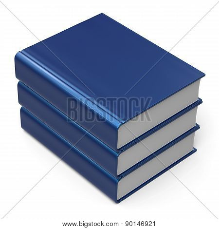 Blue Books Stack Blank Cover 3 Three School Learning Icon