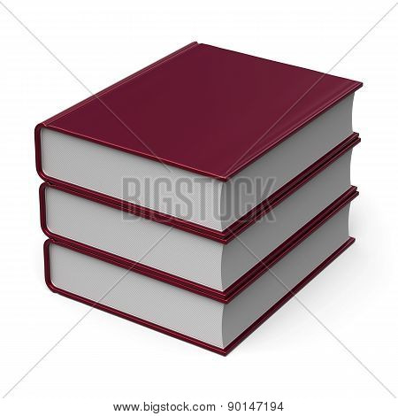 Red Books Stack Blank Cover 3 Three School Learning Icon