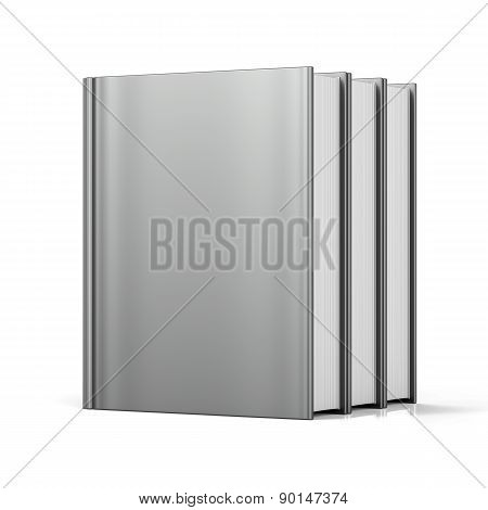 Blank Books Cover Standing 3 Three White Textbook Empty