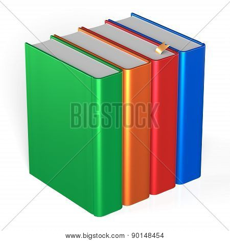 Books Four Blank Educational Textbooks Bookshelf Bookcase