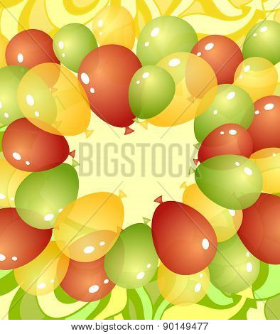 Background from balloons in green red yellow colors