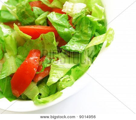 Healthy Vegetarian Salad On The White Plate