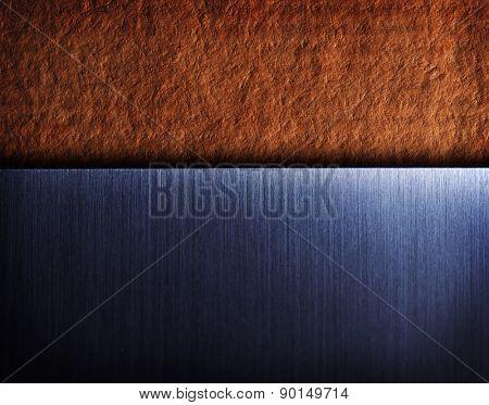 brushed metal on vintage texture background. Modern and vintage contrast background.