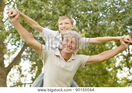 happy grandfather with his grandson