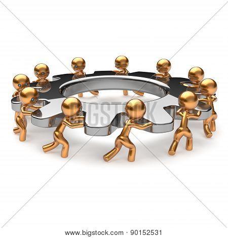 Teamwork Business Process Hard Job Men Gear Characters