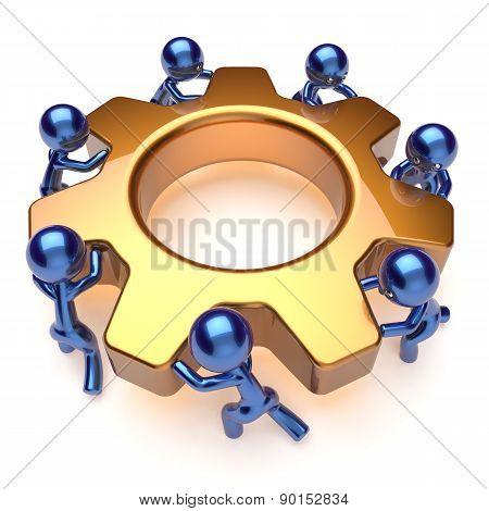 Teamwork Business Process Team Work Workers Turning Gear