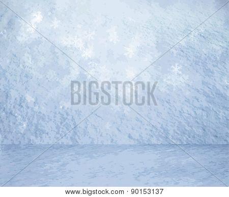 frozen snow room, christmas background, vector