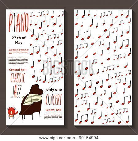 Piano concert invitation card