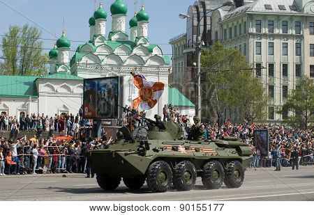 The BTR-80 is an 8x8 wheeled amphibious armoured personnel carrier. Victory Day Parade to commemorat