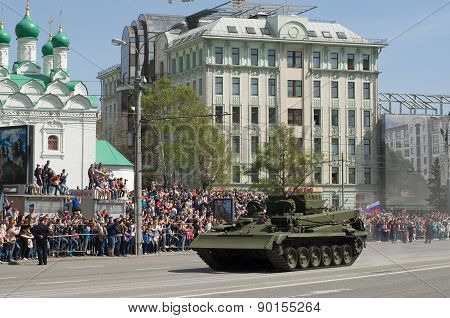 Moscow Victory Day Parade to commemorate the 70th anniversary of Victory in Great Patriotic War. Red