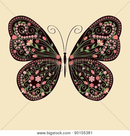 Decorative butterfly with floral ethnic ornament