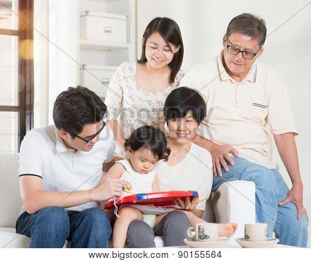 Asian multi generations lifestyle at home. Happy family portrait.