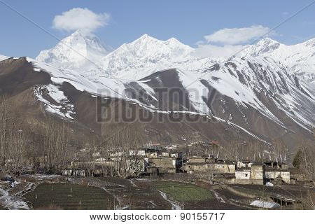 Local Houses At Muktinath Village In Lower Mustang District, Nepal