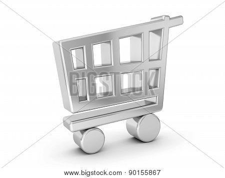 Silver Shopping Cart Symbol