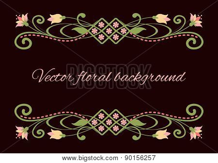 Floral swirly frame isolated on dark brown background