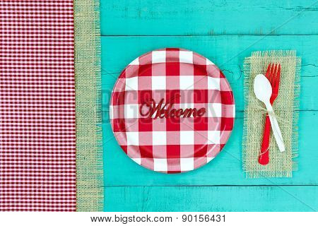 Welcome sign with picnic concept