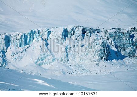 collapsing glacier and frozen lake