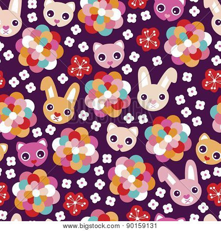 Seamless colorful kids animal rabbit and cat flower blossom background pattern illustration print in vector