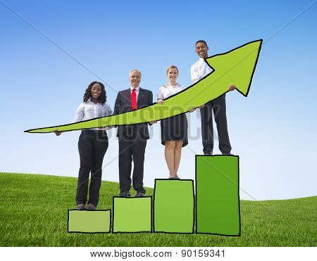 Business People Development Growth Performance Increase Victory Concepts
