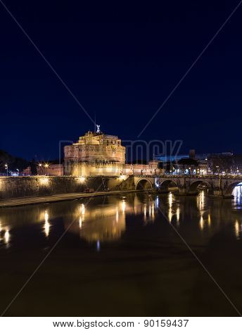 Castel Sant'angelo (castle Of The Holy Angel) And Ponte Sant'angelo Bridge