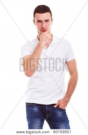 Pensive Man In A White Polo Shirt Isolated On White Background