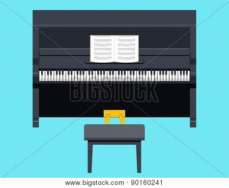 Piano Icon Concept Symbol Flat Design on Stylish Background Template Vector Illustration