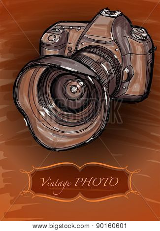 Digital photo camera - vector drawing in vintage style / eps10