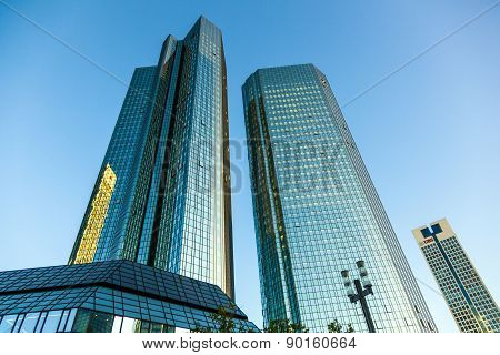 Skyline With The 155 Meter High Twin Towers Deutsche Bank I And Ii