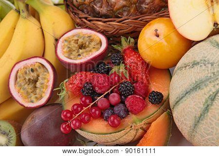 close up on fresh fruits