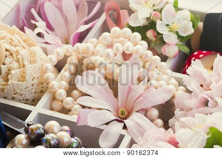 tree  flowers with pearls and lace