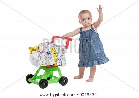 Shopping Cart Full Of Clothes And Baby