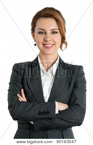 Smiling Business Woman With Folded Hands