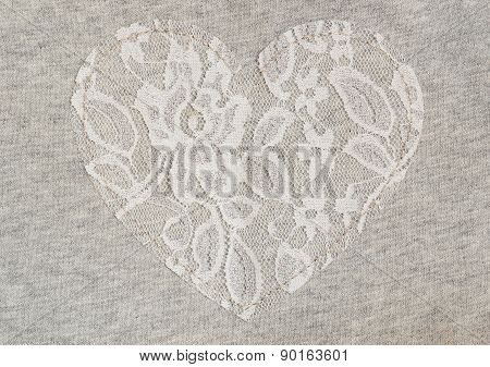 Gray Jersey Fabric With Lace Heart