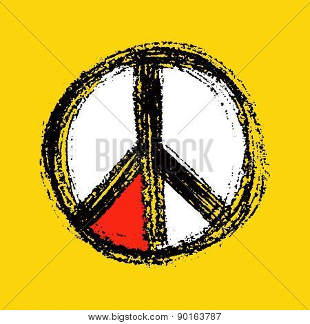 Peace symbol drawing. vector in yellow style