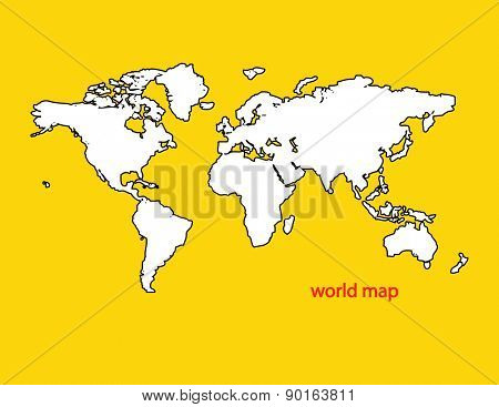 Map of the world isolated on yellow